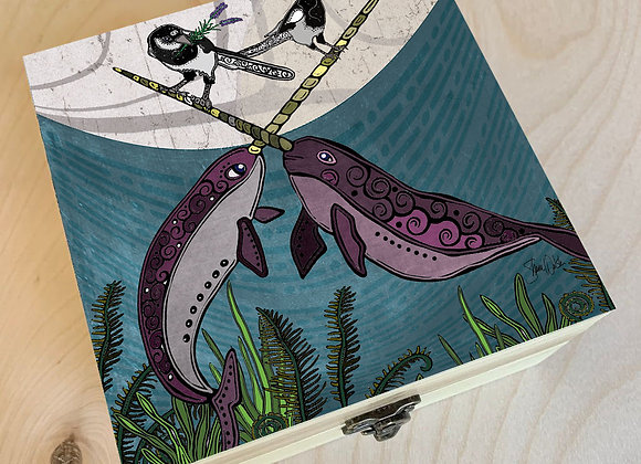 Narwhal & Magpie Wood Box