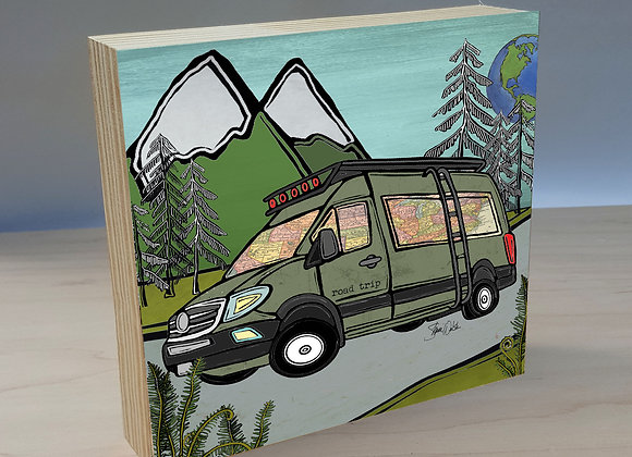 Sprinter Camper Van Overlander wood art panel