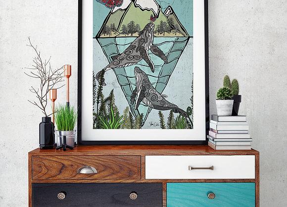 Whales & Butterflies art print