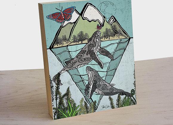 Whales &  Butterflies wood art panel