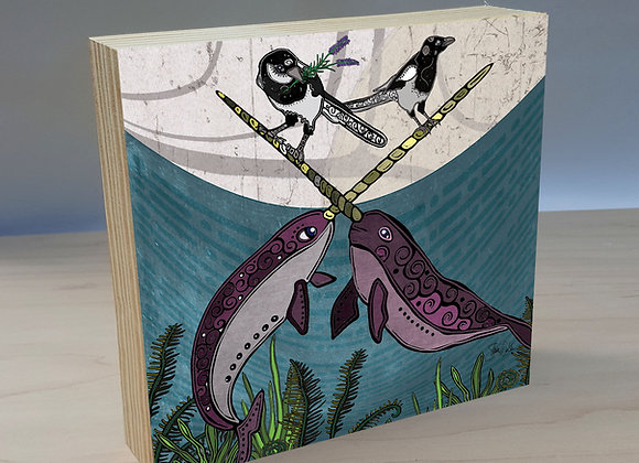 Narwhals & Magpies wood art panel