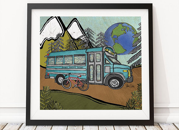 School Bus Tiny House Print