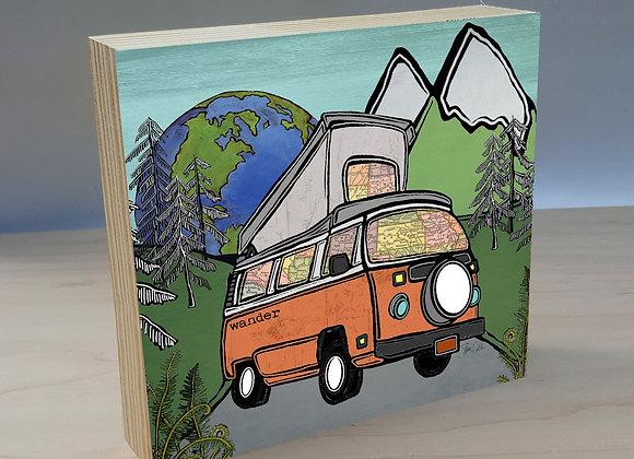 Volkswagen Camper Van Overlander wood art panel