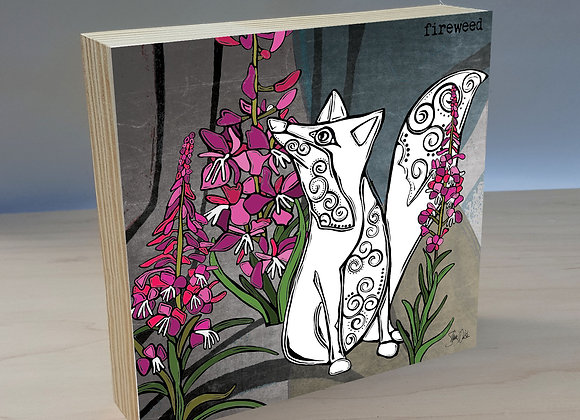 Fox Fireweed wood art panel