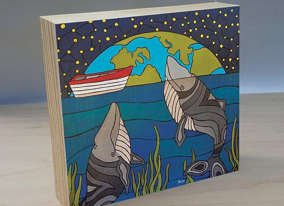 Night Whales wood art panel