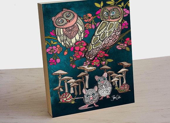 Owl & Mice wood art panel