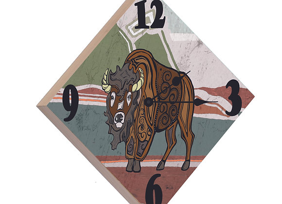 Bison Wood Panel Clock