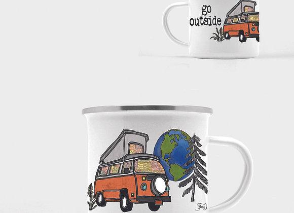 VW Camper Van Enamel Camp Mug