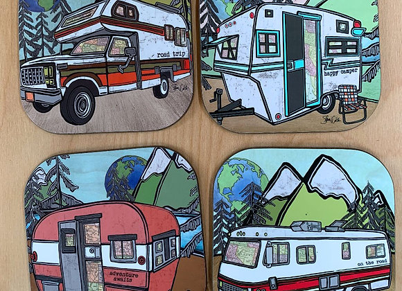Go Outside Camper Coaster Set