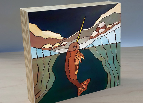 Narwhal wood art panel