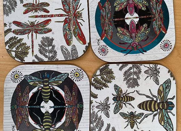 Bees, Dragonflies & Fireflies Coaster Set