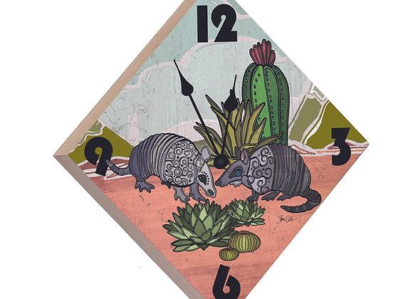 Armadillo Wood Panel Clock