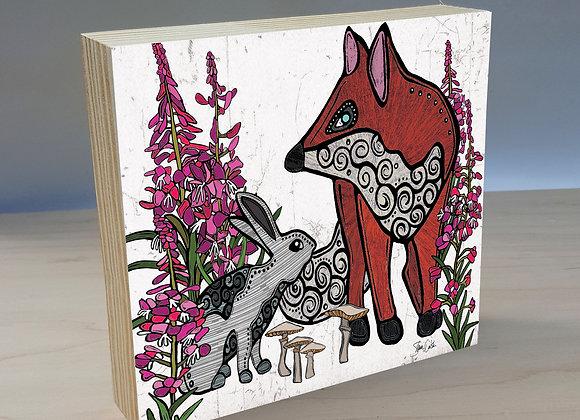 Fox & Rabbit 2 Wood Art Panel