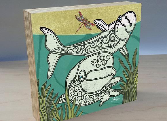 Beluga Whale & Dragonfly Wood Art Panel