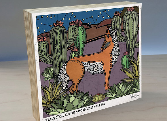Coyote & Cactus wood art panel