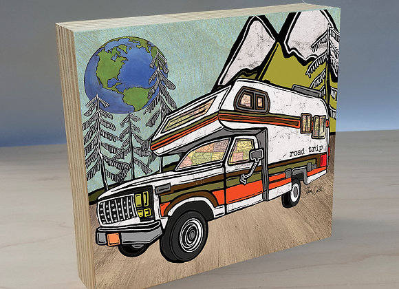 Vintage Truck Bed Camper  Overlander wood art panel