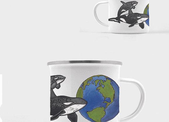 Orca Enamel Camp Mug