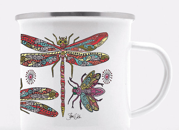 Dragonfly and Firefly Enamel Camp Mug