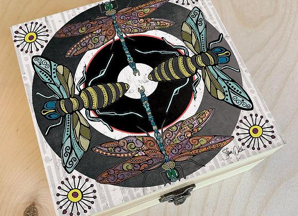 Dragonfly & Bee Wood Box