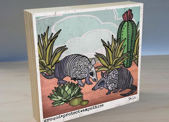 Armadillo & Cactus Wood Art Panel