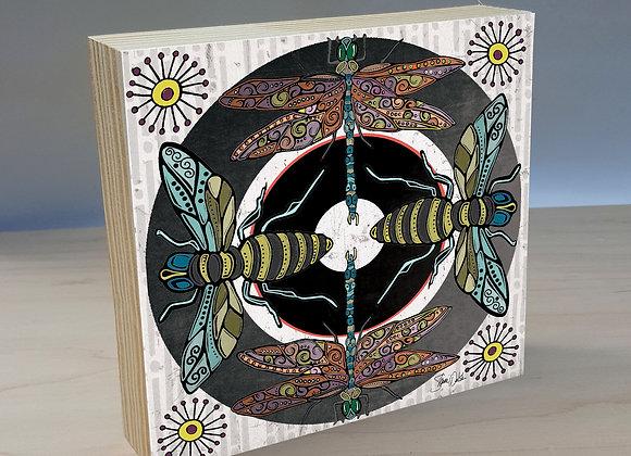 Bees & Dragonflies Wood Art Panel