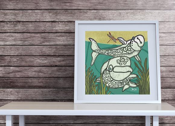 Beluga Whale & Dragonfly Print