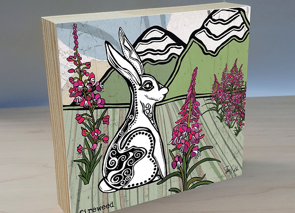 Rabbit Fireweed wood art panel