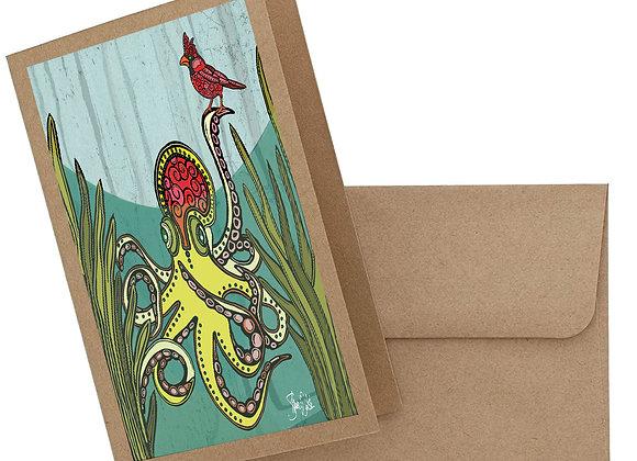 Octopus & Cardinal Card