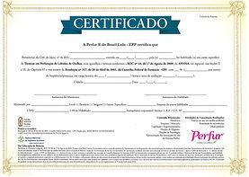 Certificado Brincos Perfur