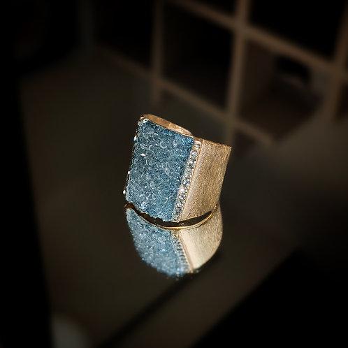 Anillo Tubular con remates en cristales Swarovski