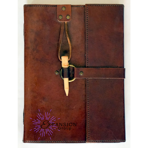 Leather Journal w/Wooden Peg Closure - 120 pgs