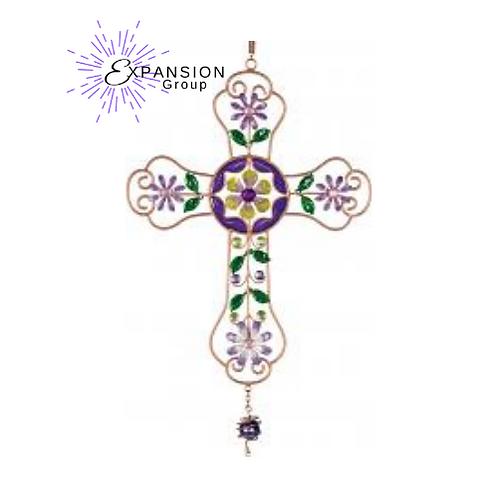 Mosaic Cross Wind Chime