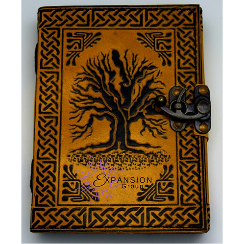 Leather Tree Journal w/snap Metal Closure - 120 pgs