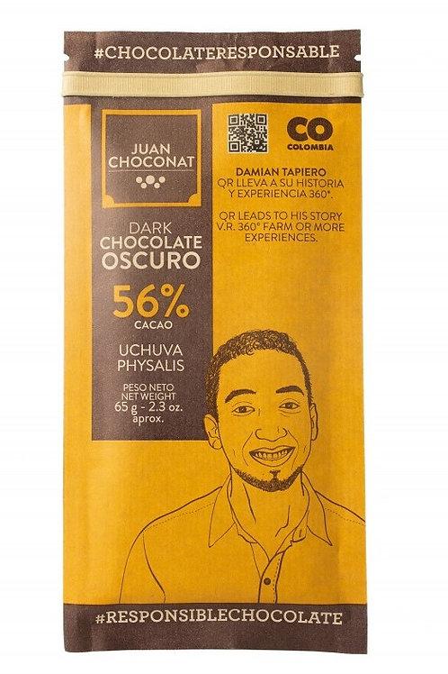 Chocolat noir Colombie 56% cacao aux Physalis
