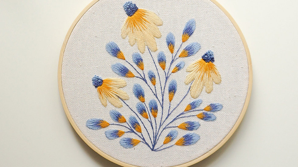 Golden Blue Coneflowers - Original Hoop 6''