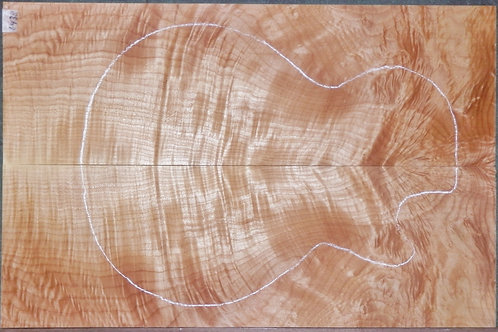Flame Curly Tiger Maple #6438 Luthier Guitar Top Set