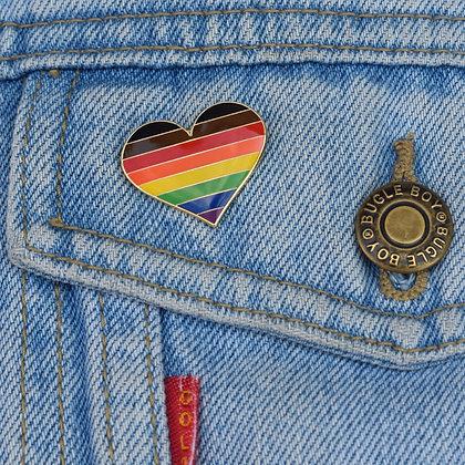 LGBTQ+ Pride Rainbow Flag Heart Shaped Enamel Pin