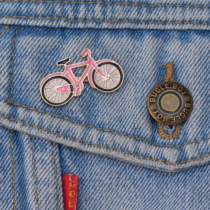 Pink Bicycle Enamel Pin Badge