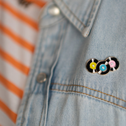 Vinyl Records Pin Badge