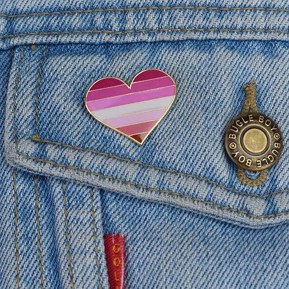 Lesbian Pride Flag Heart Shaped Enamel Pin