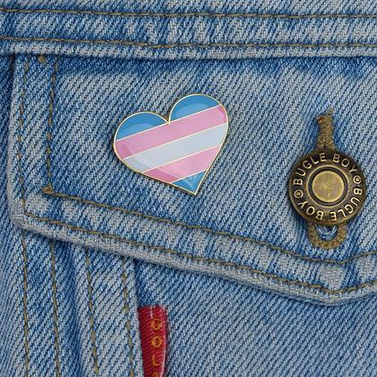Transgender Pride Flag Heart Shaped Enamel Pin