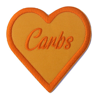 Orange Carbs Heart Iron on Patch