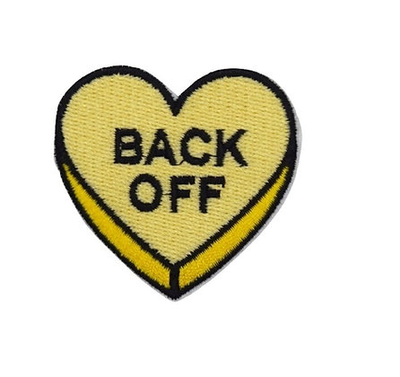 Back Off Heart Iron on Patch