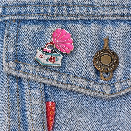Vintage Record Player Enamel Pin Badge
