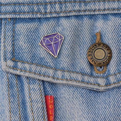 Purple Diamond Enamel Pin Badge