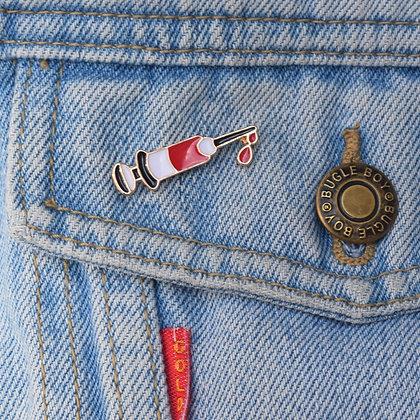 Blood Syringe Enamel Pin Badge