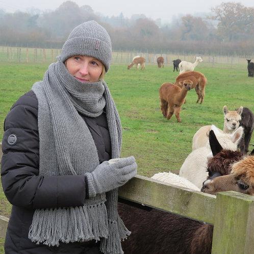 Beanie & Gloves & Scarf - Pewter - Alpaca - British - Pure