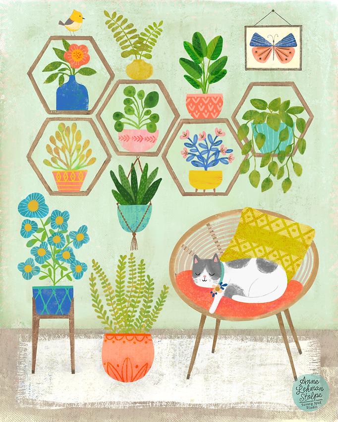 Cat Plants Illustration