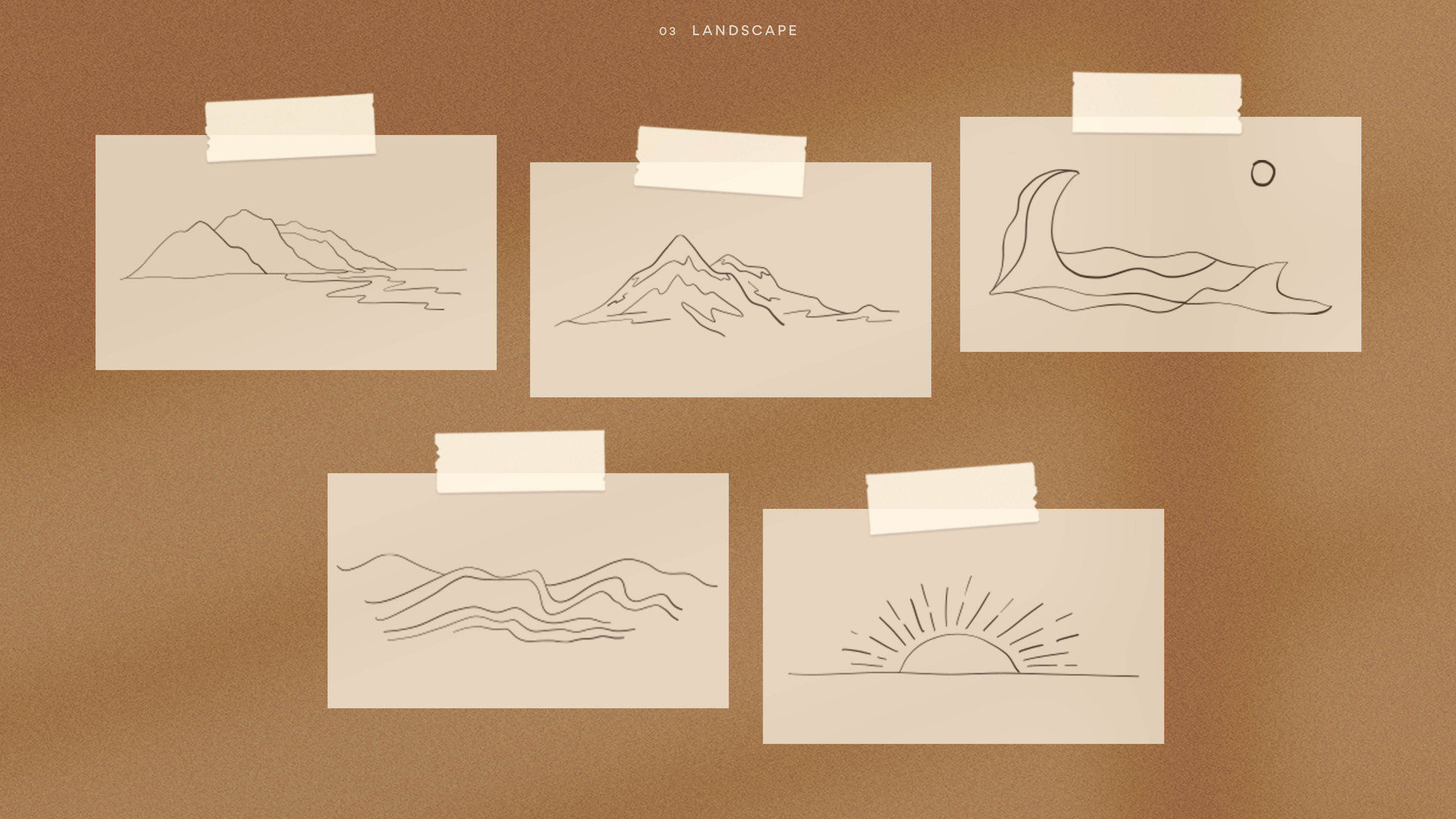 mountains landscape water drawing