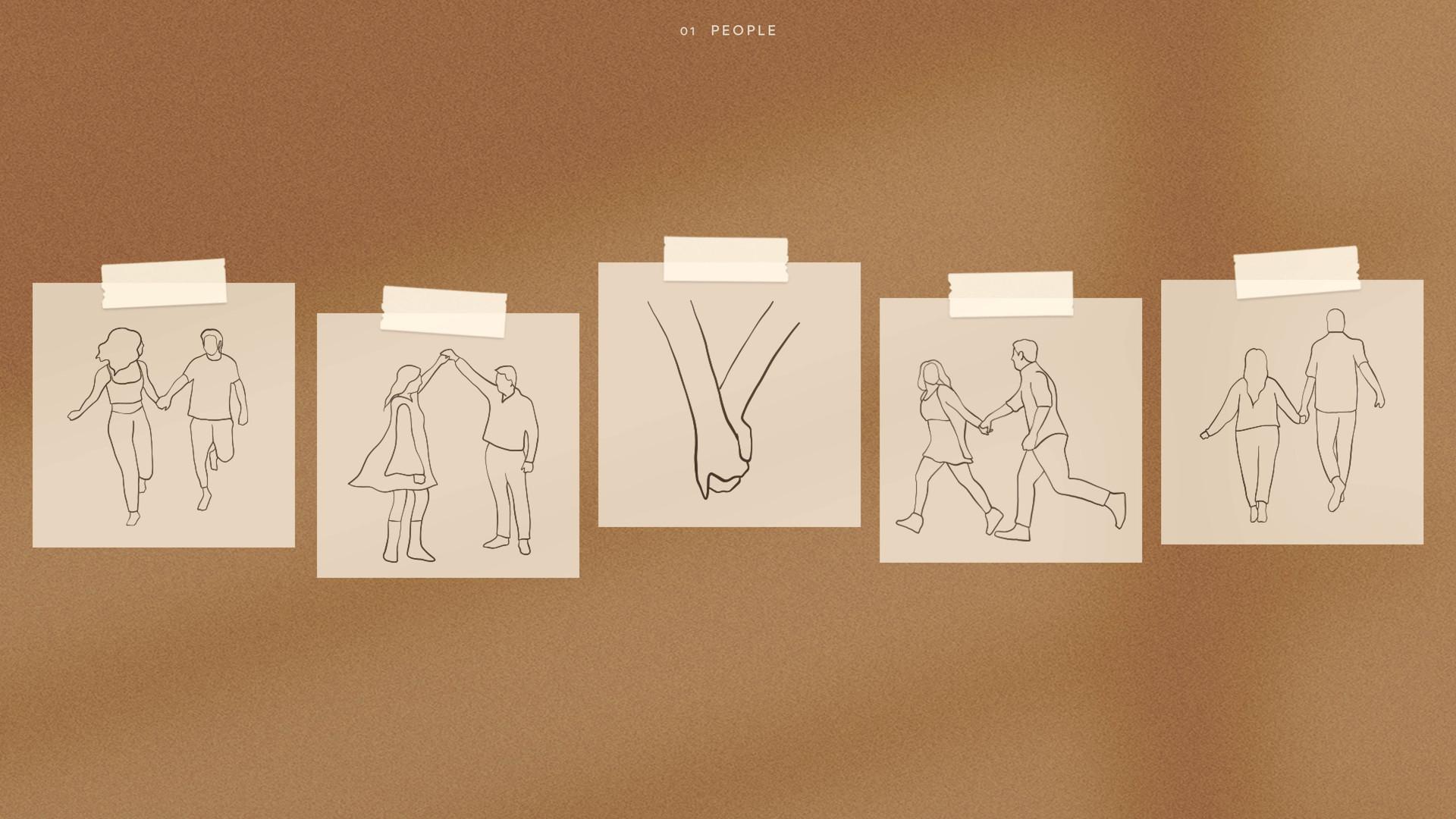 people holding hands running illustration